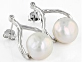 10.5-11mm White Cultured Freshwater Pearl With Cubic Zirconia Rhodium over Silver Earrings