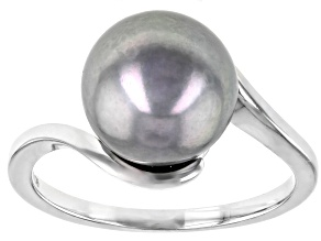 10-10.5mm Silver Cultured Enhanced Freshwater Pearl Rhodium Over Sterling Silver Bypass Ring
