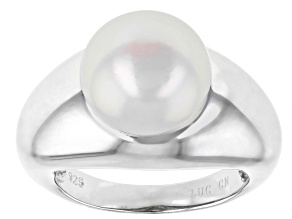 11-12mm White Cultured Freshwater Pearl Rhodium Over Sterling Silver Solitaire Ring