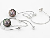 9-10mm Cultured Tahitian Pearl Rhodium Over Sterling Silver Hoop Dangle Earrings