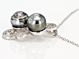 8-8.5mm Silver Cultured Tahitian Pearl 0.65ctw White Zircon Rhodium over Sterling Silver Pendant