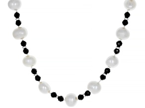 9mm White Cultured Freshwater Pearl With 16.50ctw Black Spinel Rhodium Over Silver 20 inch Necklace