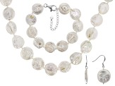 16MM CULTURED FRESHWATER PEARL RHODIUM OVER SILVER NECKLACE & BRACELET JEWELRY SET