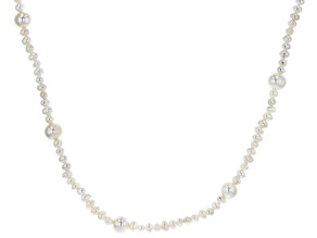 4-9mm White Cultured Freshwater Pearl Rhodium over Sterling Silver 80 inch Station Necklace