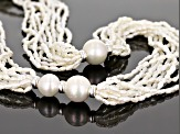 3-13mm White Cultured Freshwater Pearl Rhodium over Sterling Silver Twisted 24 inch Necklace