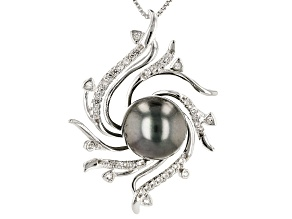 10-11mm Cultured Tahitian Pearl With 0.32ctw White Topaz Rhodium over Silver Pendant with Chain