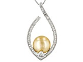 11-12mm Cultured Golden South Sea Pearl With 0.44ctw White Topaz Rhodium over Silver Pendant