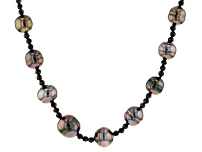 9-12mm Cultured Tahitian Pearl 1.1ctw Black Spinel Rhodium Over Sterling Silver 18 inch Necklace