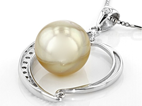 10-11mm Golden Cultured South Sea Pearl With 0.28ctw White Topaz Rhodium over Silver Pendant