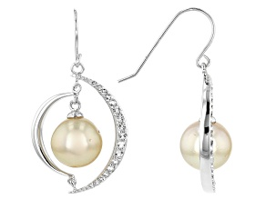9-10mm Golden Cultured South Sea Pearl With 0.28ctw White Topaz Rhodium over Silver Earrings