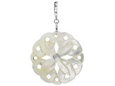 40mm White Mother Of Pearl Rhodium Over Sterling Silver Floral Enhancer