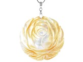 44mm Golden South Sea Mother of Pearl Rhodium Over Sterling Silver Flower Pendant with 18 inch Chain