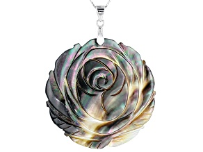 44mm Tahitian Mother of Pearl Rhodium over Sterling Silver Flower Pendant with 18 inch Chain