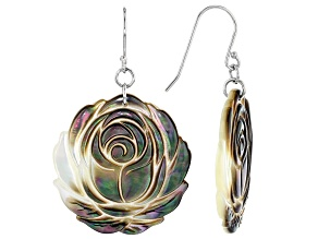 28mm Tahitian Mother of Pearl Rhodium over Sterling Silver Flower Earrings
