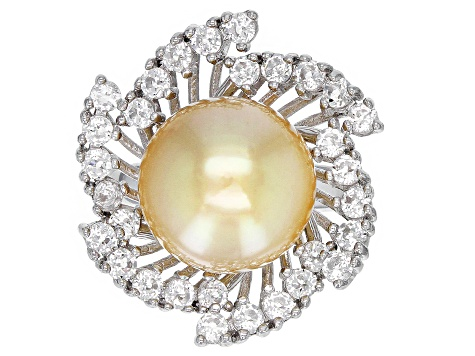 12-13mm Cultured Golden South Sea 1.79ctw White Topaz Rhodium Over Sterling Silver Ring
