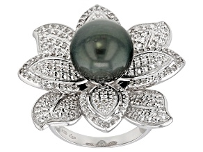 11-12mm Cultured Tahitian Pearl 1.76ctw White Topaz Rhodium over Sterling Silver Floral Ring