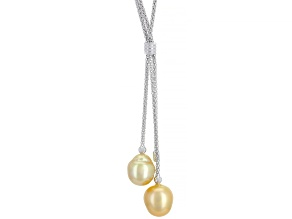 10-11mm Cultured Golden South Sea Pearl Rhodium Over Sterling Silver 22 inch Necklace