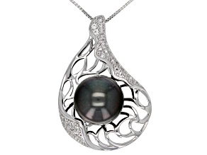 13-14mm Cultured Tahitian Pearl 0.64ctw White Topaz Rhodium Over Silver Pendant with 18 inch Chain