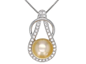 10mm Cultured Golden South Sea Pearl 0.4ctw White Topaz Rhodium Over Sterling Silver Pendant
