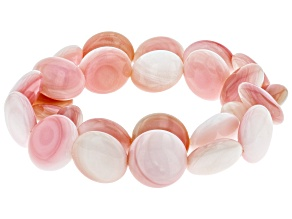 14-15mm Pink Coin Conch Shell Stretch Bracelet Set of Two