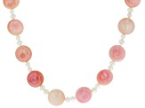 12mm Pink Conch Shell 3-3.5mm White Cultured Freshwater Pearl Rhodium over Silver 36 inch Necklace