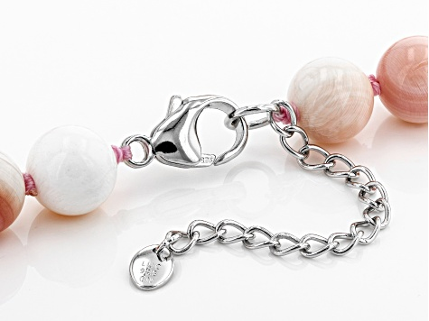 10-11mm Pink Conch Shell Rhodium Over Sterling Silver 20 inch plus 2 inch Extender Necklace