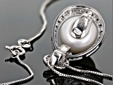 11mm White Cultured Freshwater Pearl With Cubic Zirconia Rhodium over Sterling Silver Pendant