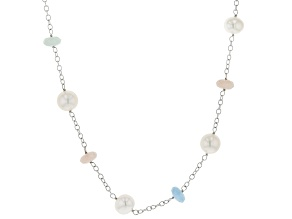 10-11mm White Cultured Freshwater Pearl with Aquamarine & Morganite Rhodium over Silver Necklace