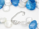 14-18mm White Cultured Keshi Pearl with Agate and Hematine Rhodium over Sterling Silver Necklace