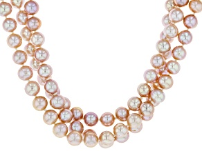 7-8mm Pink Cultured Freshwater Pearl Rhodium over Sterling Silver Three Strand 20 inch Necklace