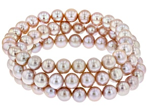 7-8mm Pink Cultured Freshwater Pearl Stretch Bracelet Set of Three
