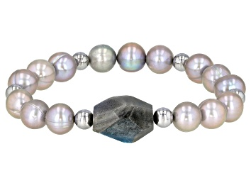 Picture of 9-10mm Silver Cultured Freshwater Pearl Labradorite with Hematine Stretch Bracelet