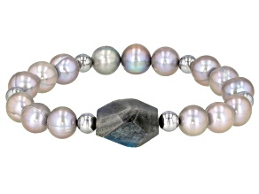 9-10mm Silver Cultured Freshwater Pearl Labradorite with Hematine Stretch Bracelet