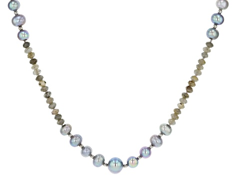 7.5-11mm Silver Cultured Freshwater Pearl & Labradorite Rhodium Over Silver 50 inch Necklace