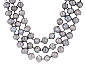 9-10mm Silver Cultured Freshwater Pearl with Hematine Rhodium over Silver Three Strand Necklace