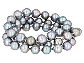 9-10mm Silver Cultured Freshwater Pearl with Hematine Stretch Bracelet Set of Three