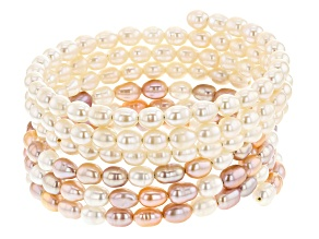 4-5mm White and Multi-Color Cultured Freshwater Pearl Multi-Row Bracelet Set of Two