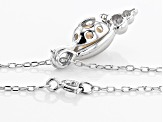 Wish® Pearl 5-6mm Cultured Freshwater Pearl Rhodium Over Silver Seashell Cage Pendant with Chain