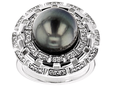 Cultured Tahitian Pearl 0.43ctw White Topaz Rhodium Over Sterling Silver Ring 11mm