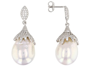 15mm Cultured Freshwater Pearl & Cubic Zirconia Rhodium Over Silver Earrings