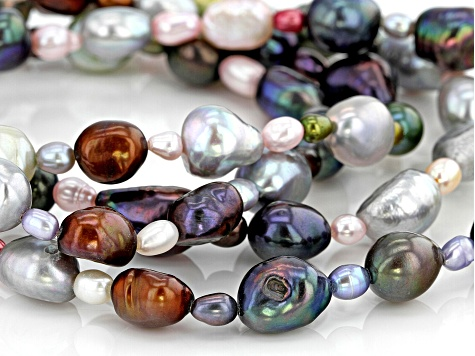 4-10mm Enhanced Multicolor Cultured Freshwater Pearl Endless Strand 36 inch Necklace