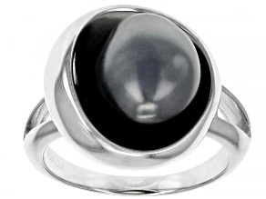 Cultured Keshi Tahitian Pearl Rhodium Over Sterling Silver Solitaire Ring