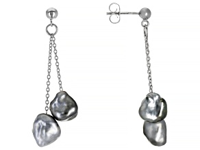 Tahitian Keshi Cultured Pearl, Rhodium over Sterling Silver Earrings 10mm