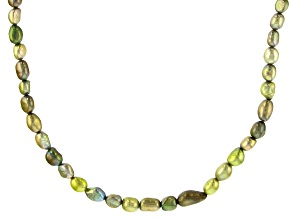 Pistachio Green Cultured Freshwater Pearl Endless Strand Necklace 7-8mm