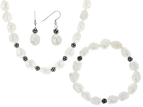 White Cultured Freshwater Pearl Rhodium Over Silver Necklace, Stretch Bracelet, Earrings Set