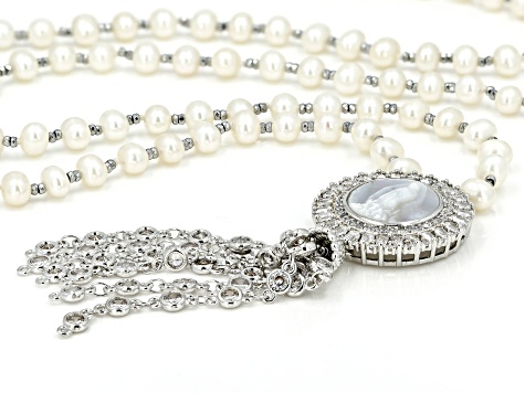 Cultured Freshwater Pearl, Mother of Pearl, Diamond Simulant, Hematine Silver Tone Necklace