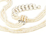 White Cultured Freshwater Pearl, Hematine Sterling Silver Necklace