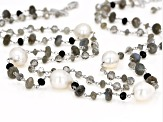White Cultured Freshwater Pearl, Labradorite, Agate, Glass Silver Necklace 11-15mm