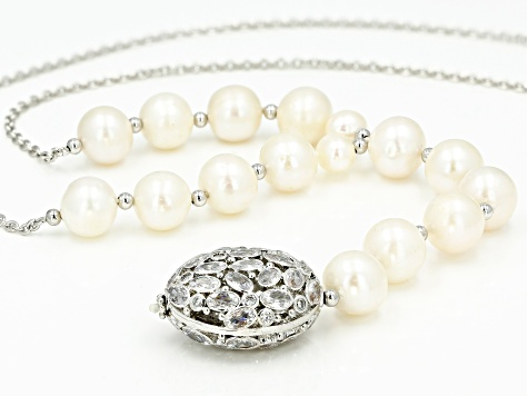 White Cultured Freshwater Pearl And Cubic Zirconia Sterling Silver Necklace