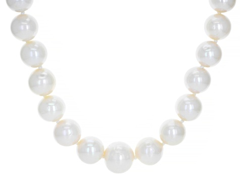 White Cultured Freshwater Pearl 0.26ctw Diamond Simulant Silver 24 Inch Necklace 11-14mm